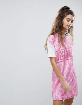 Asos DESIGN t-shirt dress with lace overlay