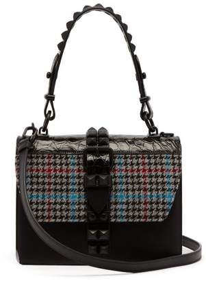 2e211447e703 Prada Elektra Mini Tweed And Crocodile Leather Bag - Womens - Blue Multi