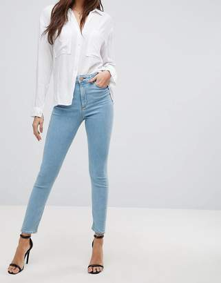 Asos DESIGN Ridley high waist skinny jeans in bright light stone wash