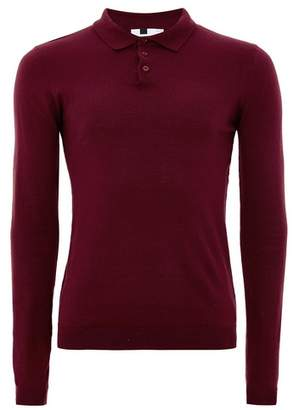 Topman Mens Burgundy Muscle Fit Knitted Polo