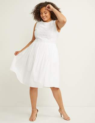 Lane Bryant Eyelet Fit & Flare Dress with Smocking