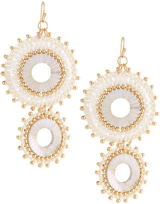 Panacea Double Pearl Circle Drop Earrings