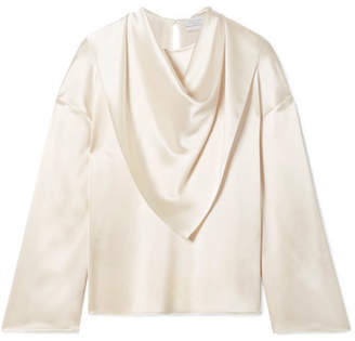 bb4e15ad786527 Deveaux - Open-back Draped Hammered-satin Blouse - Ivory