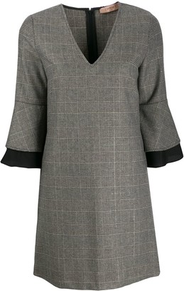 Twin-Set plaid v-neck dress