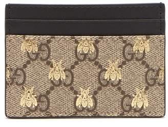 Gucci Gg Supreme Logo And Bee Cardholder - Womens - Beige Multi