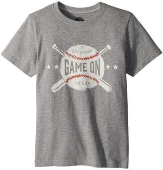 Life is Good Game On Baseball Crusher Tee Boy's T Shirt