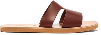 Ancient Greek Sandals Apteros Leather Slides - Mens - Brown
