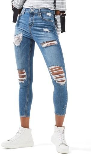 TopshopPetite Women's Topshop Moto Jamie Super Rip Skinny Jeans