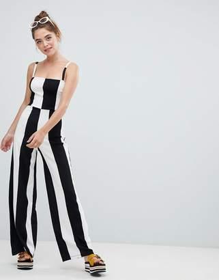 Bershka wide stripe jumpsuit in mono