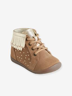 Vertbaudet Leather Boots with Fringes for Girls, First Steps
