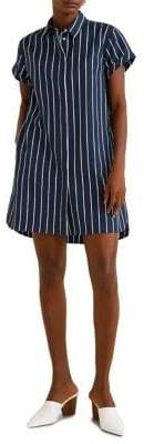 MANGO Striped Short-Sleeve Shirtdress
