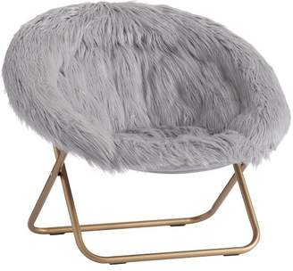 Pottery Barn Teen Gray Himalayan Faux-Fur Hang-A-Round Chair