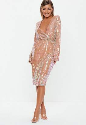 Missguided Blush Sequin Fluted Sleeve Wrap Over Midi Dress