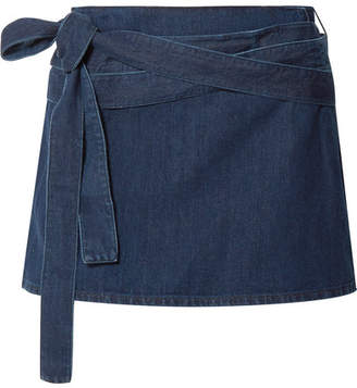 J.W.Anderson Leather-trimmed Denim Mini Skirt - Mid denim