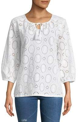 Tommy Bahama Three-Quarter-Sleeve Lace Cotton Blouse