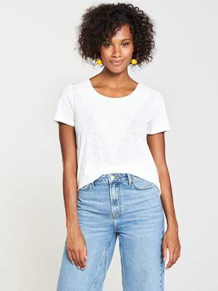 Very Embroidered Insert Top - Ivory