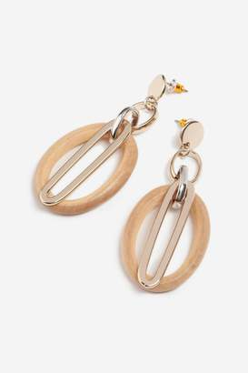 Topshop Wood Oval Link Drop Earrings