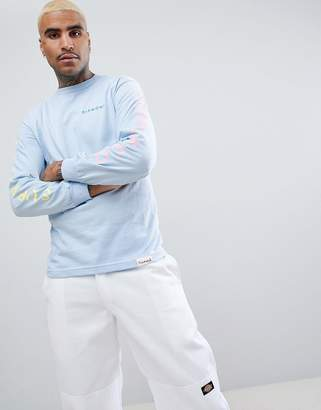 Diamond Supply Co. Long Sleeve T-Shirt With Sleeve Print In Light Blue