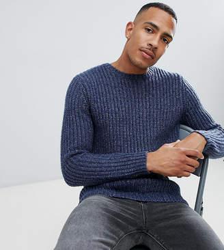 Asos Design DESIGN Tall heavyweight fisherman rib sweater in navy