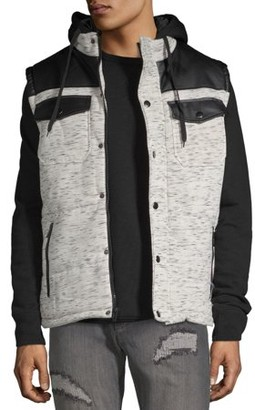 Yoki Men's Quilted Space Dyed Men's Vest with PU Trim on Yoke and Fleece Hood