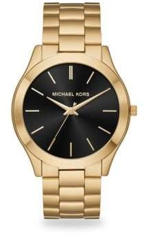 Michael Kors Slim Runway Goldtone Stainless Steel Bracelet Watch