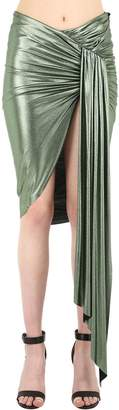 Alexandre Vauthier Ruched & Draped Metallic Jersey Skirt