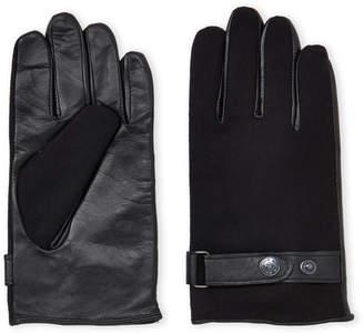 Ike Behar Black Touchscreen Wool & Leather Gloves