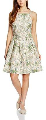 Almost Famous Women's Abstract Orchid Skater Floral Sleeveless Dress