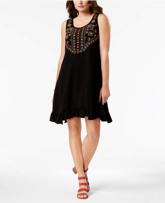 Style&Co. Style & Co Petite Embroidered Ruffle-Hem Dress, Created for Macy's