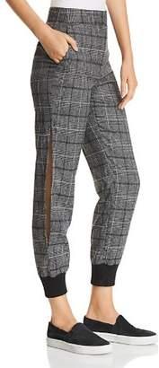Marled Plaid Slit-Leg Jogger Pants