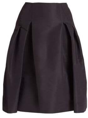 Carolina Herrera Icon Collection Silk Faille Pleated Skirt