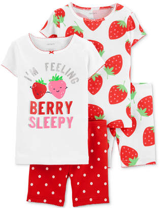 Carter's Carter Baby Girls 4-Pc. Cotton Berry Sleepy Pajamas Set