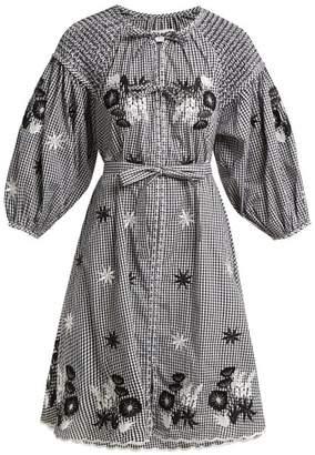 Innika Choo - Embroidered Gingham Cotton Peasant Dress - Womens - Black Print