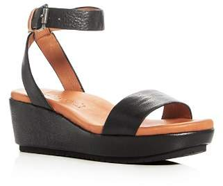 Kenneth Cole Gentle Souls by Gentle Souls Morrie Leather Ankle Strap Platform Wedge Sandals