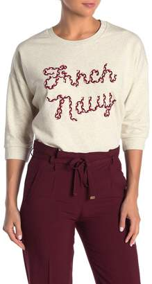 FRNCH 3/4 Sleeve Embroidered Knit Pullover