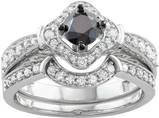 14k White Gold 1 Carat T.W. Black & White Diamond Engagement Ring Set