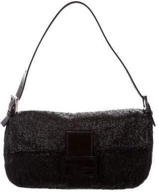 Fendi Leather-Trimmed Beaded Baguette
