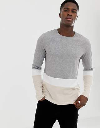 Celio long sleeve color block t-shirt in gray