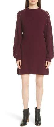 See by Chloe Open Knit Sleeve Sweater Dress