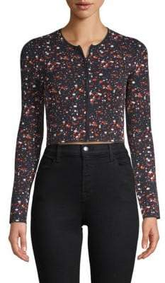 Akris Speckle Print Crop Jacket