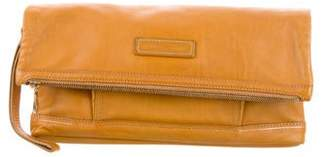 Longchamp Leather Fold-Over Wristlet Clutch