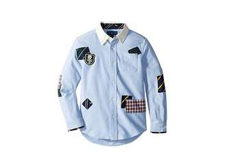 Polo Ralph Lauren Patchwork Cotton Oxford Shirt (Little Kids/Big Kids)