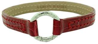 Aaron Basha Red Leather Alligator Bracelet