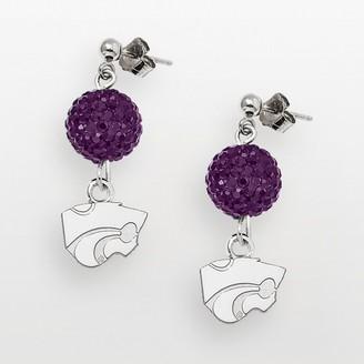 Logoart Kansas State Wildcats Sterling Silver Crystal Linear Drop Earrings