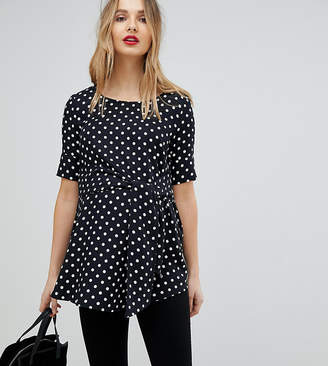 Isabella Oliver Polka Dot Top With Wrap Tie Waist