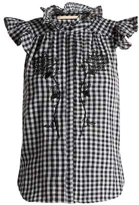 Bliss And Mischief - Rose Embroidered Gingham Cotton Top - Womens - Black White