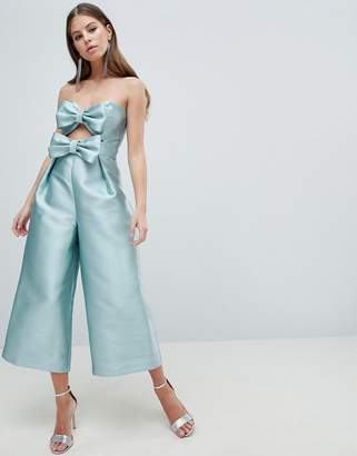 Asos DESIGN Bow Jumpsuit In Structured Fabric