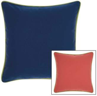 """Nourison Indoor/Outdoor 3 Color Solid & Cord Throw Pillow, Coral Navy, 20"""" x 20"""""""