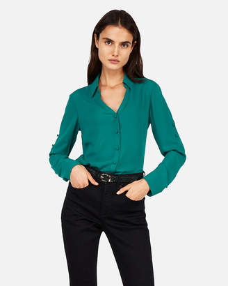 Express Petite Slim Fit Covered Button Portofino Shirt