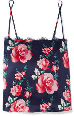 Fleur Du Mal Lace-trimmed Floral-print Silk-satin Camisole - Navy